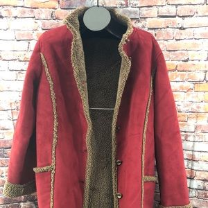 LL Bean Sherpa Fleece Suede Coat RED XL